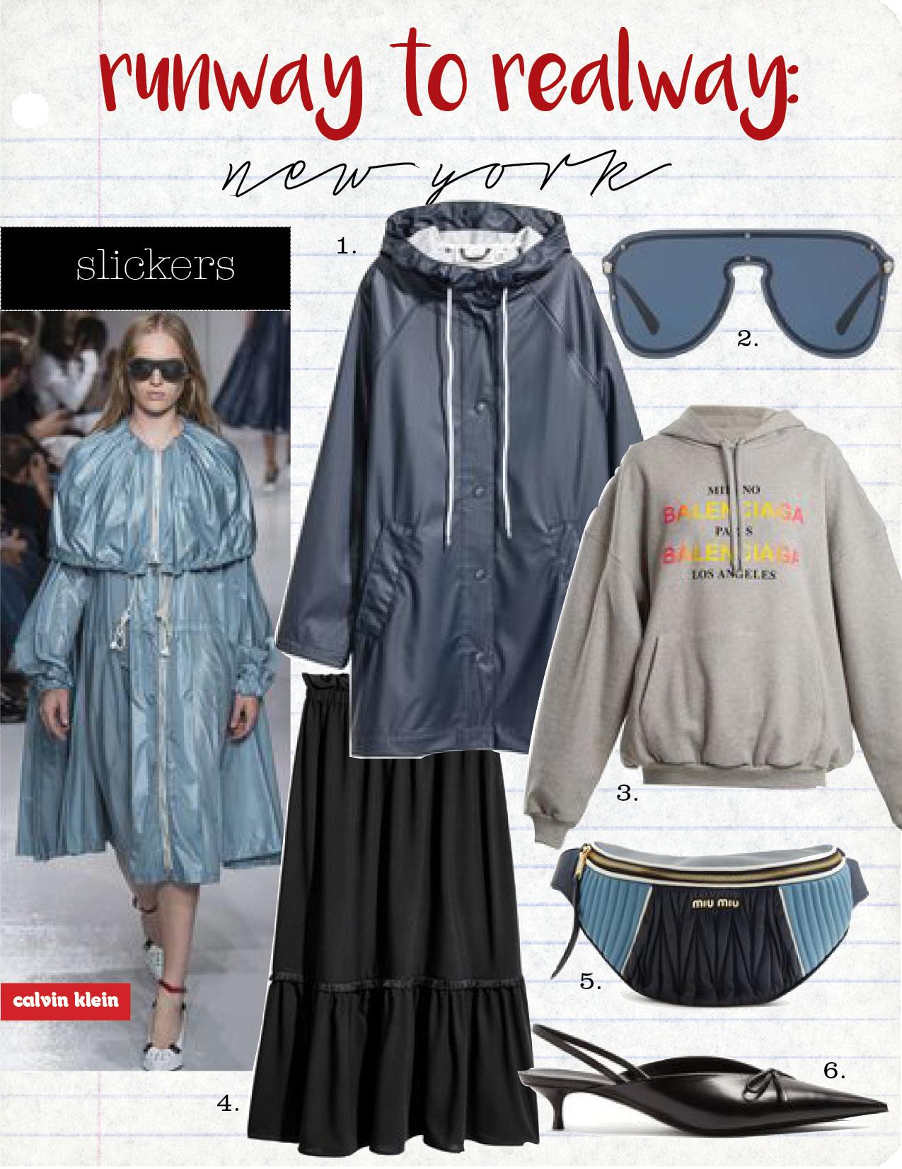 1. h&m raincoat, $39,  hm.com  2. versace blue #frenergy visor sunglasses, $295,  versace.com  3. balenciaga hoodie, $750,  matchesfashion.com  4. h&m calf-length skirt, $34,  hm.com  5. miu miu contrast letaher belt bag, $1490,  matchesfashion.com  6. balenciaga knife pumps, $795,  matchesfshion.com