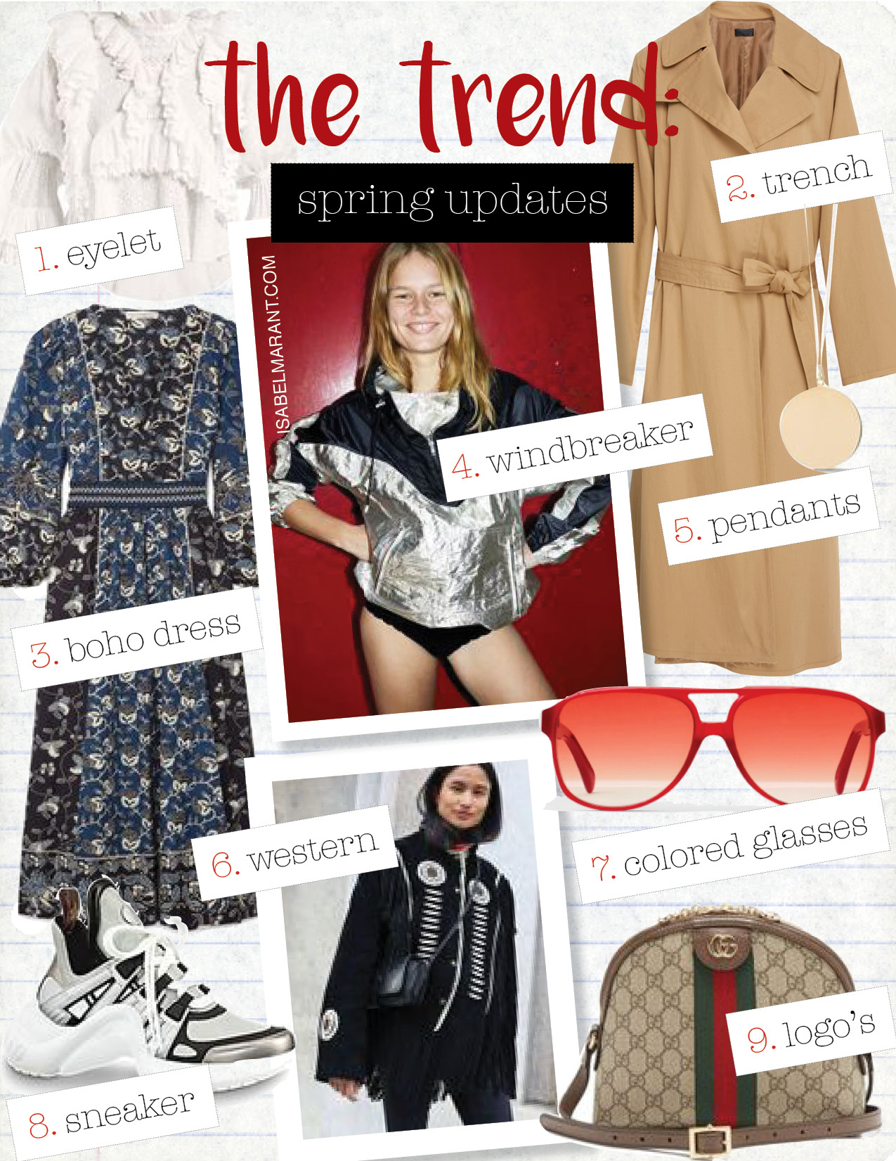 1. isabel marant zim ruffle-trimmed blouse, $713,  matchesfashion.com  2. nili lotan topher techno twill coat, $995,  modaoperandi.com  3. ulla johnson lona embroidered printed dress, $470,  net-a-porter.com  4. isabel marant etoile cyriel color-block shell hooded top, $470,  net-a-porter.com  5. h&m pendant necklace, $7,  hm.com  6. zara distressed fabric jacket with fringe, $29,  zara.com  7. celine navigator sunglasses, $430,  celine.com  8. Louis Vuitton lv archlight sneaker, $1090, us. louisvuitton.com  9. gucci ophidia leather-trimmed printed coated canvas shoulder bag, $1390,  net-a-porter.com