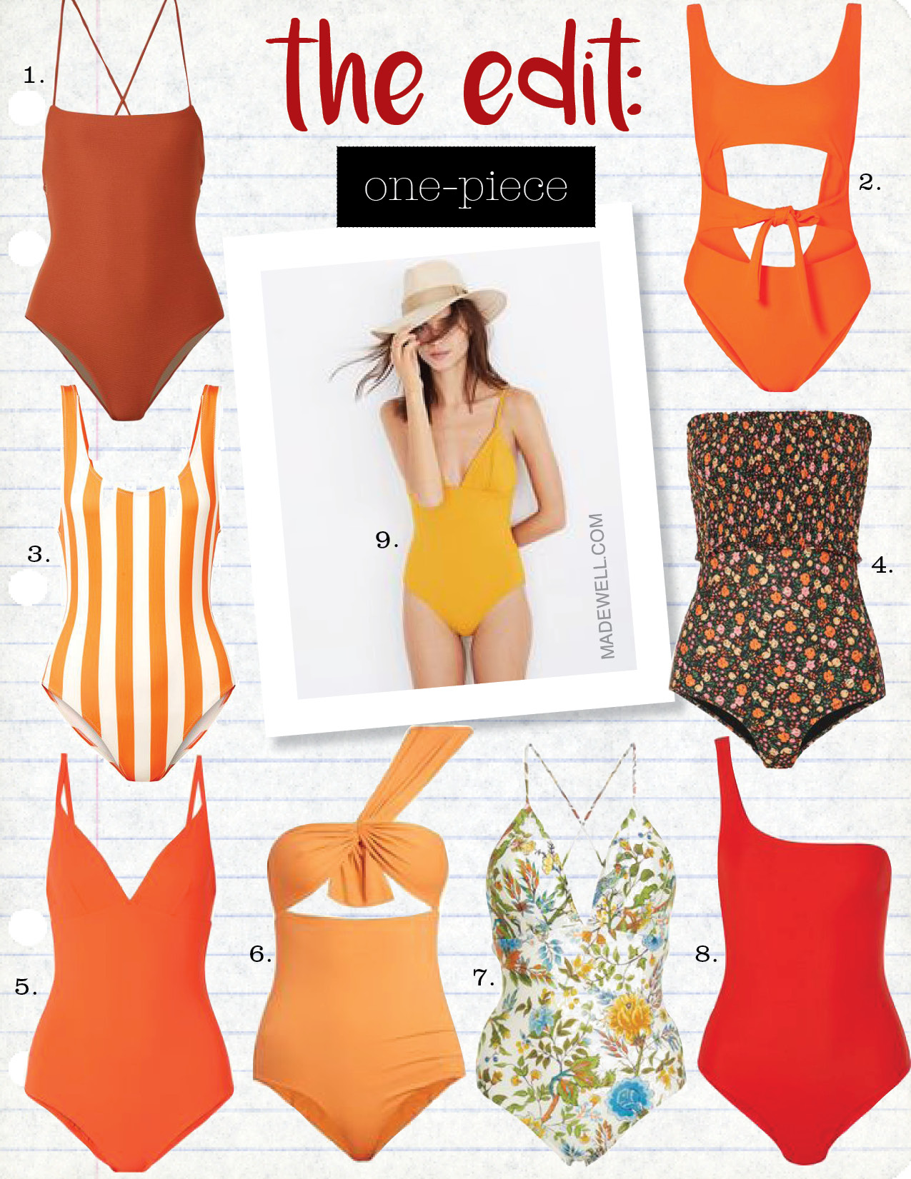 1. mara hoffman olympia ribbed swimsuit, $275,  net-a-porter.com  2. jade swim bond cutout swimsuit, $220,  net-a-porter.com  3. solid & Striped the anne-marie striped swimsuit, $170,  net-a-porter.com  4. ganni ipanema shirred floral-print halterneck swim suit, $170,  net-a-porter.com  5. tory burch marina swimsuit, $200,  net-a-porter.com  6. marysia swim venice maillot swimsuit, $340,  matchesfashion.com  7. lenny niemeyer plunge crossover back one piece swimsuit, $215,  modaoperandi.com  8. jade swim apex one-shoulder swimsuit, $200,  net-a-porter.com  9. mara hoffman virginia one-piece swimsuit, $250,  madewell.com