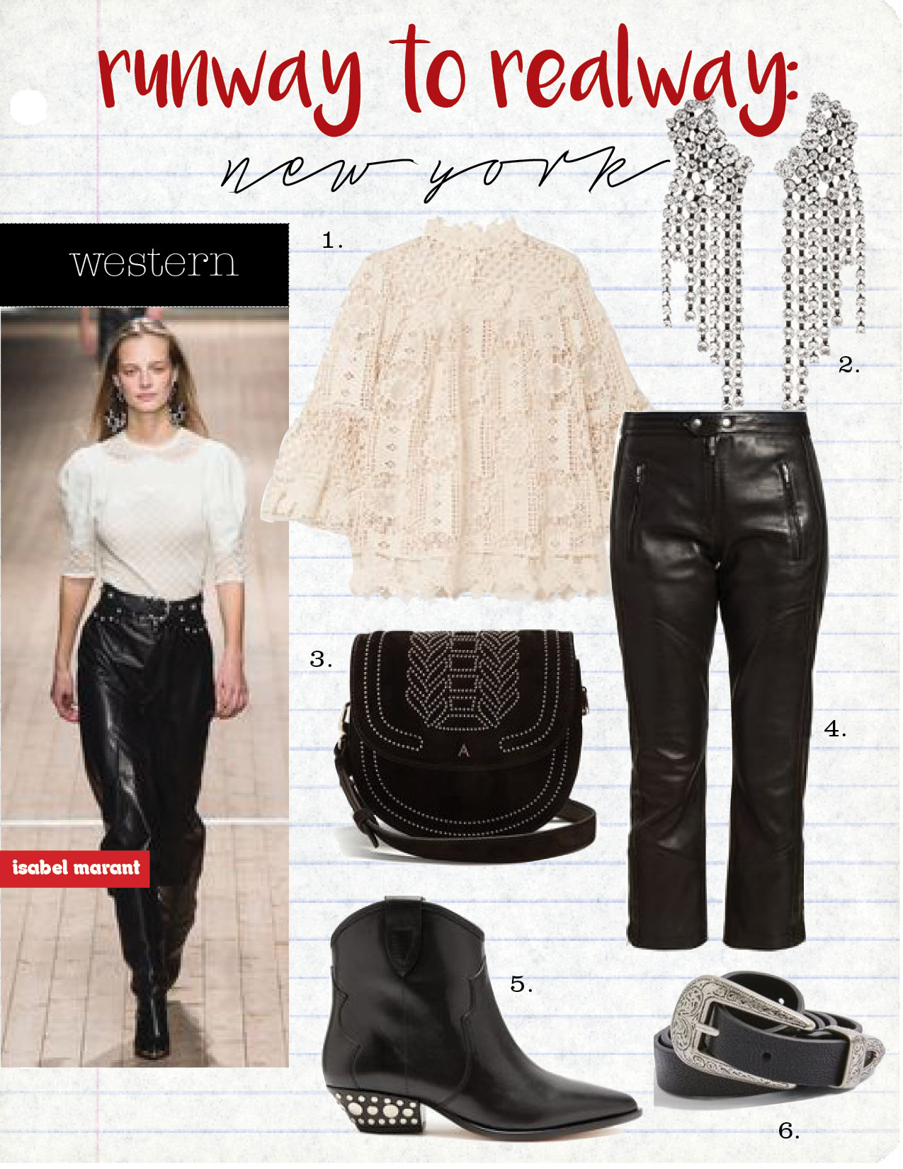 1. anna sui guipure lace top, $490,  net-a-porter.com  2. isabel marant silver-tone crystal earrings, $520,  net-a-porter.com  3. altuzarra ghianda mini stud-embellished suede bag, $1381,  matchesfashion.com  4. isabel marant etoile aya cropped leather trousers, $1144,  matchesfashion.com  5. isabel marant dawyna ankle boots, $780,  isabelmarant.com  6. topshop slim double buckle belt, $38,  topshop.com