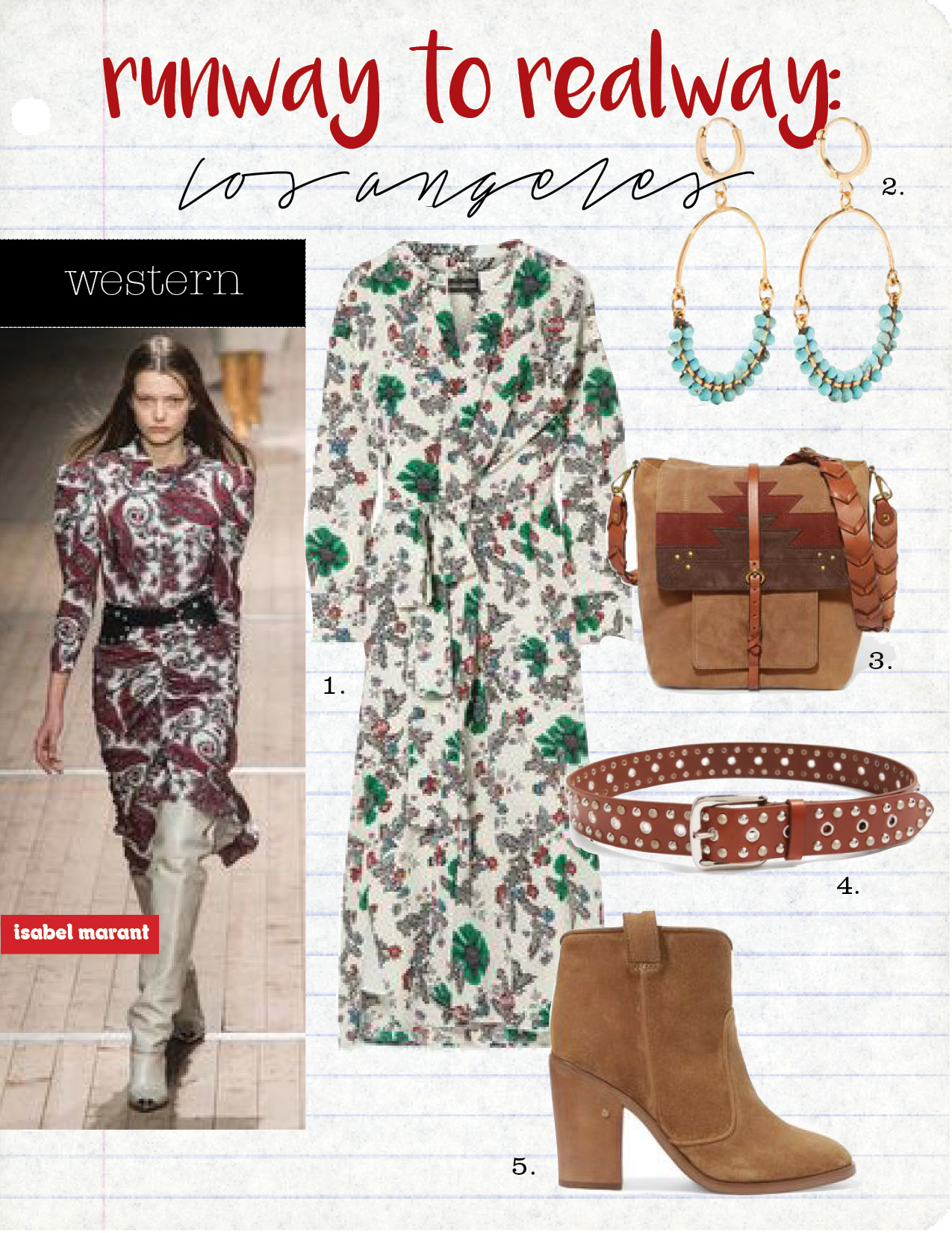 1. isabel marant calypso floral-print silk-blend wrap dress, $1435,  net-a-porter.com  2. isabel marant gold-plated beaded earrings, $170,  net-a-porter.com  3. jerome dreyfuss django leather-trimmed suede bag, $474,  net-a-porter.com  4. isabel marant rica stud-embellished leather belt, $159,  matchesfashion.com  5. laurence decade nico suede ankle boots, $765,  net-a-porter.com