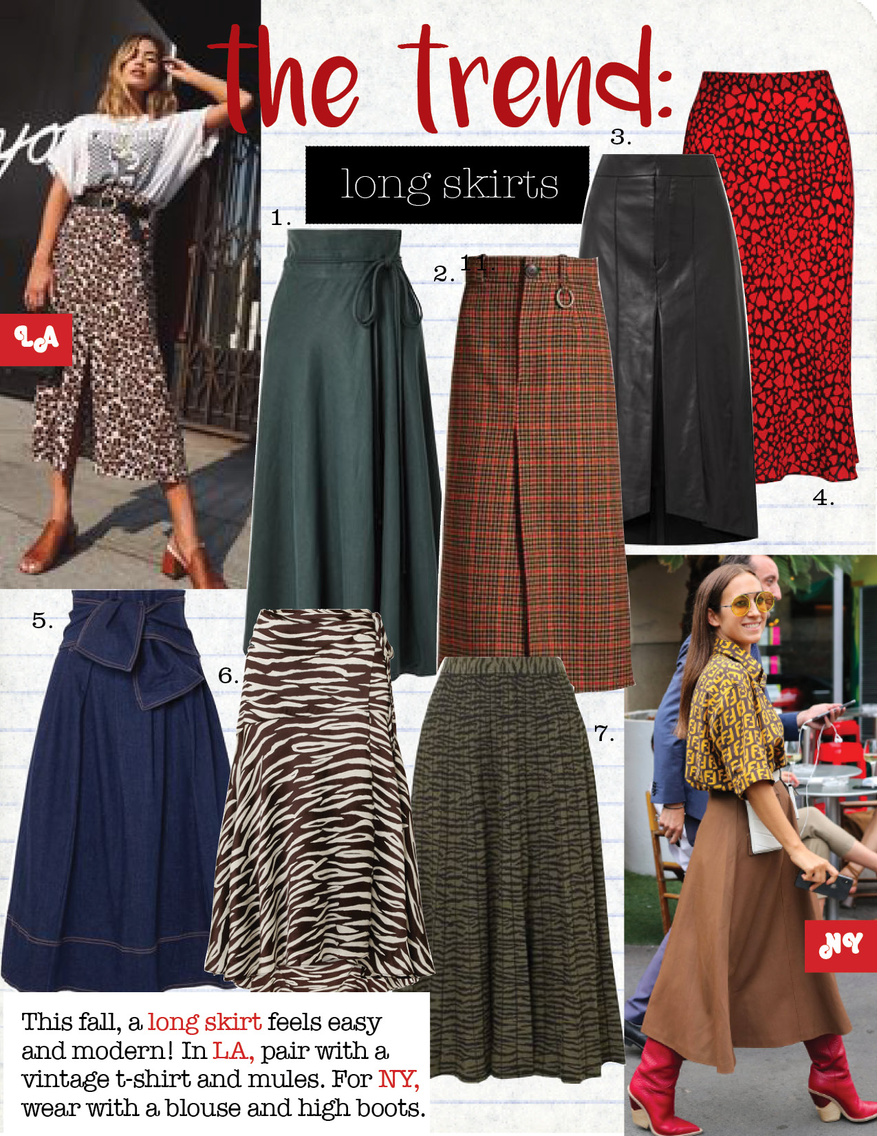 1. apiece apart rosehip tencel and linen-blend wrap skirt, $355,  net-a-porter.com  2. balenciaga wool herringbone checked skirt, $1290,  net-a-porter.com  3. isabel marant nehora pleated leather midi skirt, $2490,  net-a-porter.com  4. realisation the naomi - sid skirt, $180,  realisationpar.com  5. ulla johnson virgil belted denim midi skirt, $345,  net-a-porter.com  6. ganni blakely zebra-print stretch-silk satin skirt, $520,  net-a-porter.com  7. proenza schouler pleated jacquard-knit midi skirt, $895,  net-a-porter.com