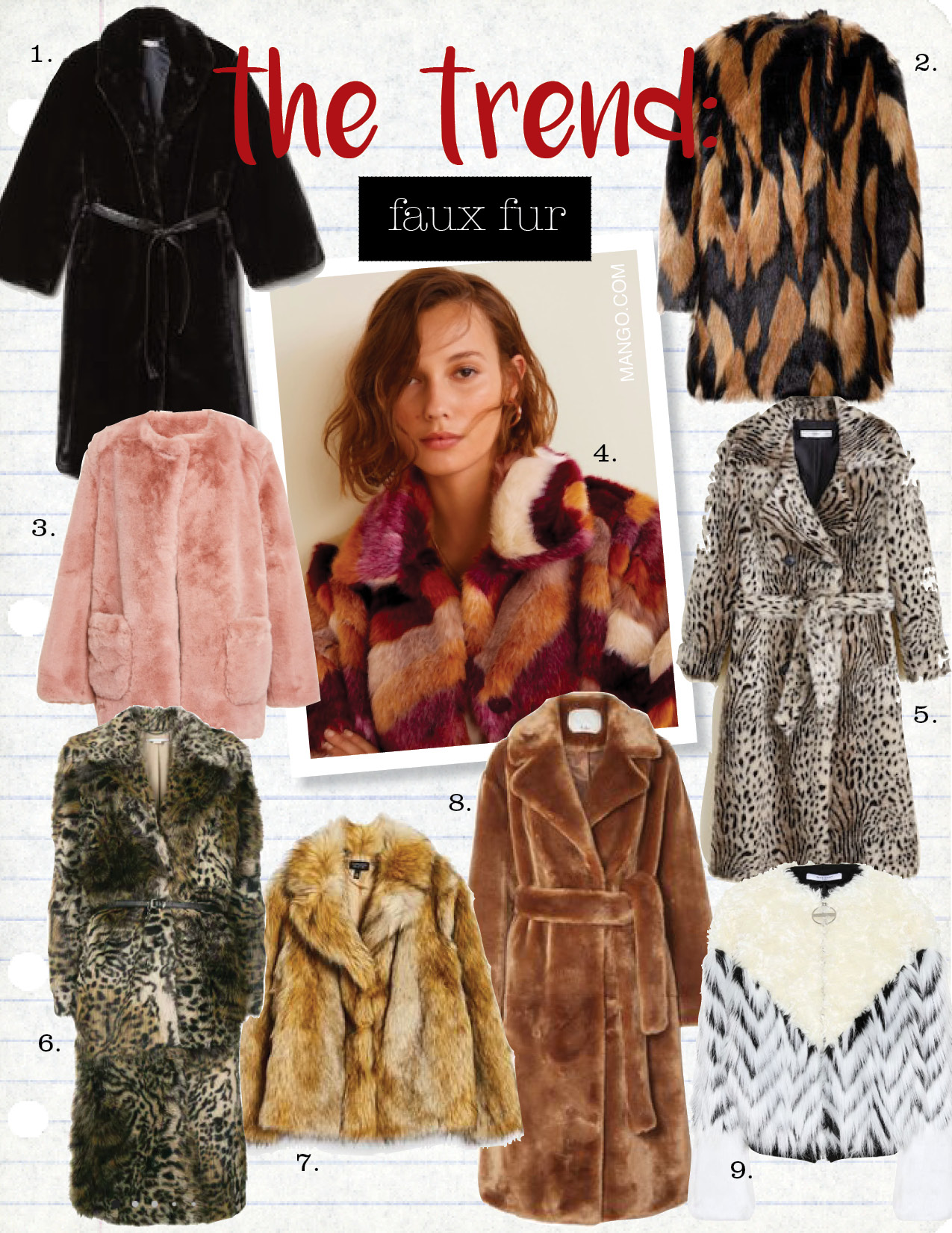 1. h&m faux fur coat, $129,  hm.com  2. givenchy faux fur coat, $3490,  barneys.com  3. apparis jessica collarless faux fur coat, $345,  modaoperandi.com  4. mango multicolor faux fur coat, $129,  mango.com  5. mango leopard faux fur coat, $229,  mango.com  6. stella maccartney leopard print faux fur coat, $2080,  farfetch.com  7. topshop vintage faux fur coat, $150,  topshop.com  8. tibi oversized faux shearling coat, $695,  net-a-porter.com  9. givenchy faux fur jacket, $3850,  mytheresa.com