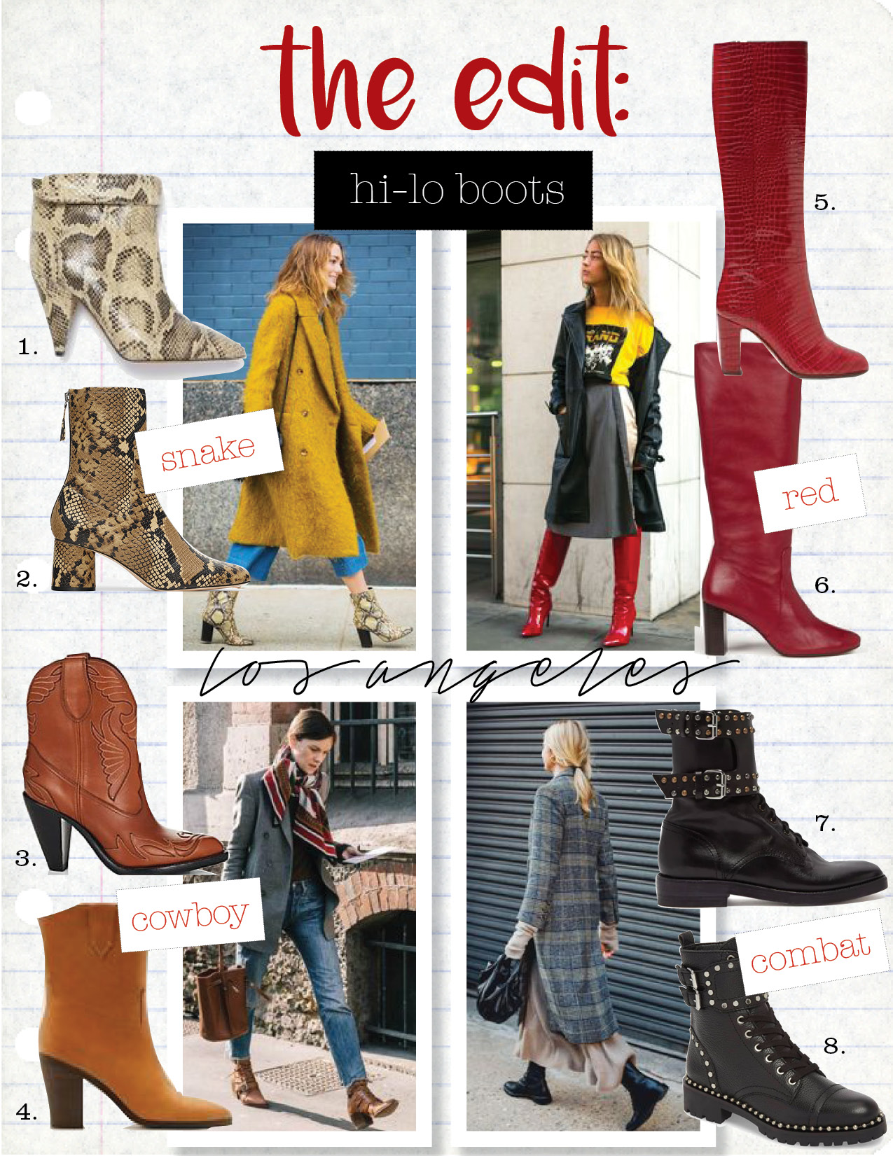 1. isabel Marant lisbo boots, $1025,  isabelmarant.com  2. zara heeled animal print ankle boots, $89,  zara.com  3. givenchy stitched leather western boots, $976,  saksfifthavenue.com  4. mango cowboy leather boots, $169,  mango.com  5. aquazzura brera 85 croc-effect leather knee-high boots, $840,  matchesfashion.com  6. ba&sh carrie boots, $550,  ba-sh.com  7. isabel marant teylon leather ankle boots, $840,  matchesfashion.com  8. sam edelman jennifer studded combat boot, $127,  nordstrom.com