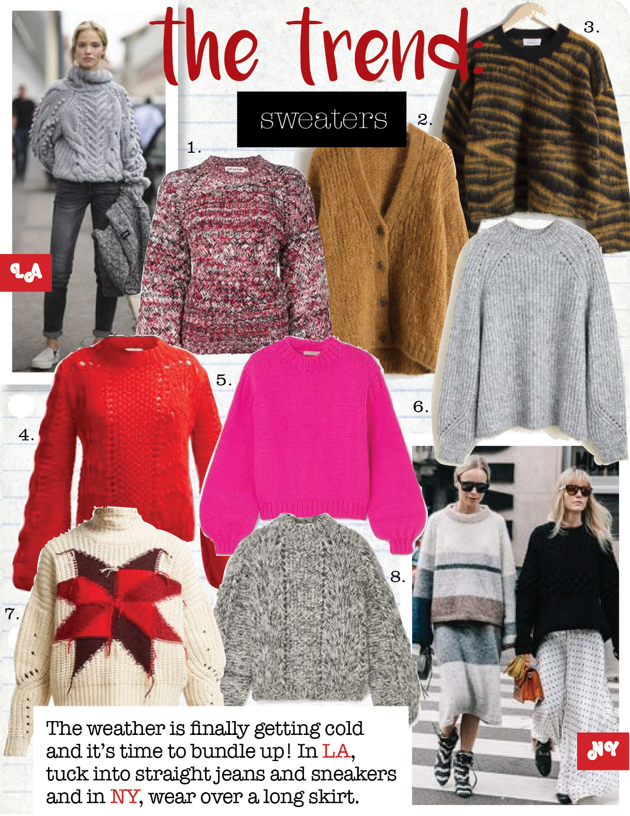 1. self-portrait knitted sweater, $221,  farfetch.com  2. & other stories brown oversized cardigan, $129,  stories.com  3. & other stories wool blend zebra sweater, $99,  stories.com  4. ganni Julliard mohair knit sweater, $419,  matchesfashion.com  5. Ulla Johnson merino wool sweater, $595,  net-a-porter.com  6. mango knit sweater, $41,  mango.com  7. Isabel Marant hanoi intarsia-knit sweater, $354,  matchesfashion.com  8. ganni Julliard mohair and wool blend sweater, $505,  net-a-porter.com