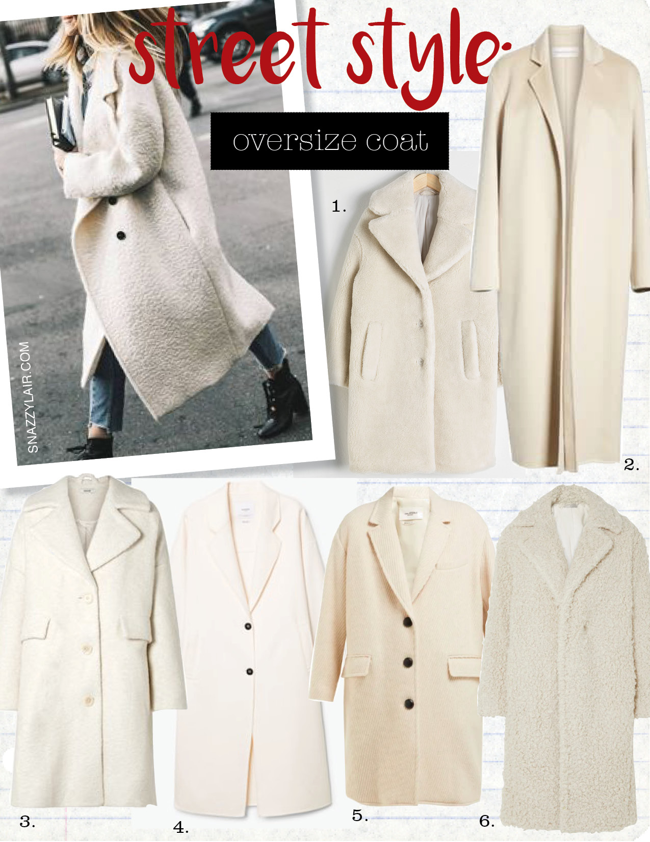 1. & other stories faux shearling coat, $179,  stories.com  2. Mansur Gavriel longline cashmere coat, $677,  nordstrom.com  3. ganni boucle wool oversized coat, $176,  ganni.com  4. mango wool-blend coat, $199,  mango.com  5. Isabel Marant etoile gimi oversized wool-blend tweed coat, $619,  matchesfashion.com  6. vince faux shearling coat, $347,  net-a-porter.com