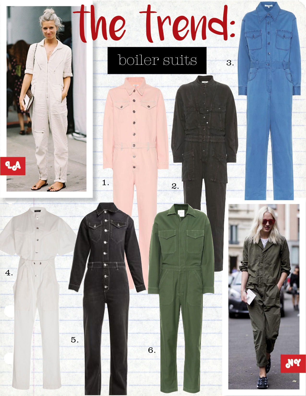 1. ganni denim jumpsuit, $370,  mytheresa.com  2. Isabel Marant etoile lashay jumpsuit, $680,  mytheresa.com  3. tibi stretch cotton twill jumpsuit, $435,  mytheresa.com  4. Isabel Marant tundra denim jumpsuit, $825,  modaoperandi.com  5. ganni rienzi denim jumpsuit, $311,  matchesfashion.com  6. citizens of humanity marta cotton jumpsuit, $358,  mytheresa.com