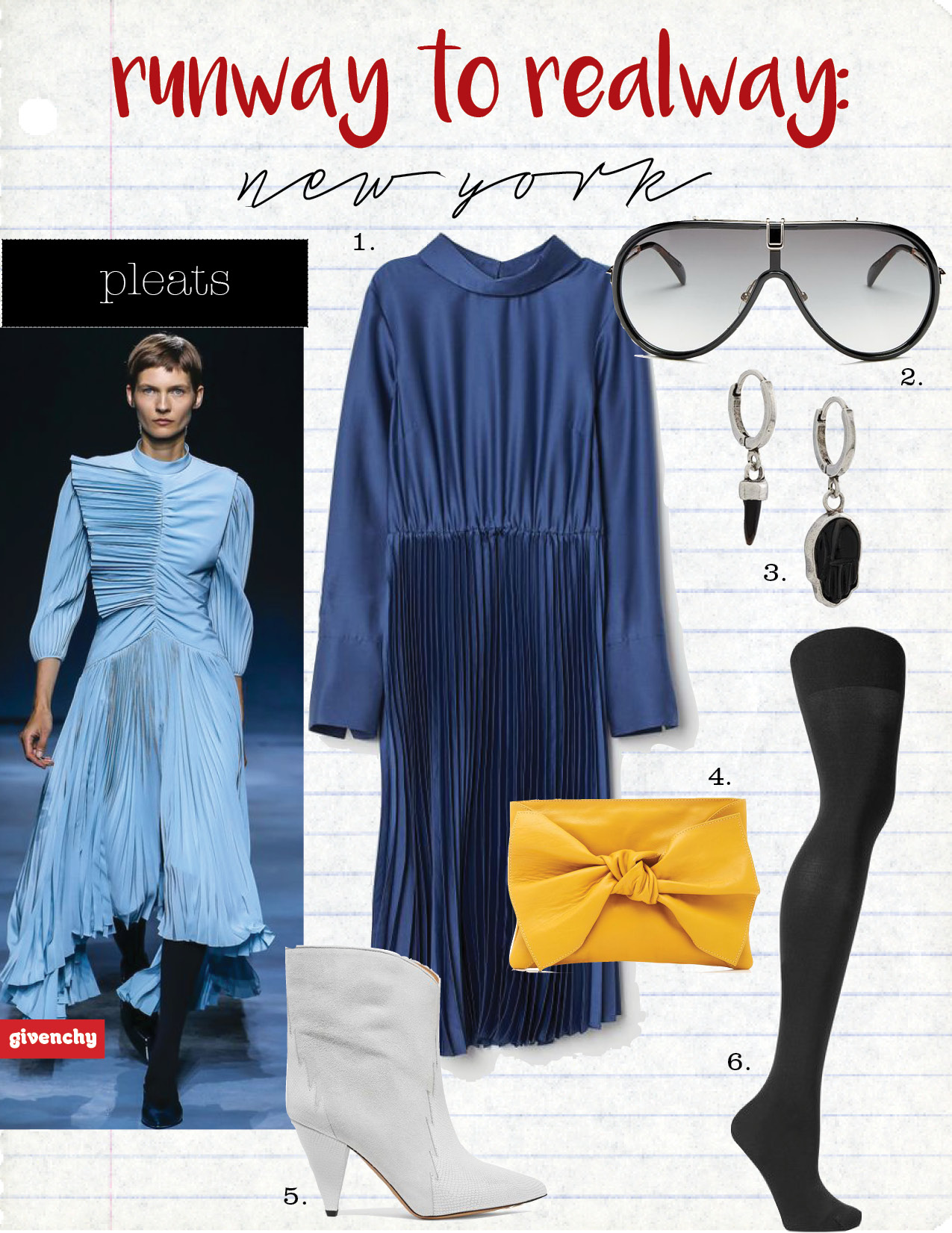 1. h&m pleated dress, $59,  hm.com  2. givenchy shield sunglasses, $450,  bloomingdales.com  3. Isabel Marant buffalo horn pendant earrings, $67,  farfetch.com  4. Ulla Johnson tali clutch, $297,  shopbop.com  5. Isabel Marant leider suede and leather ankle boots, $1025,  net-a-porter.com  6. spanx luxe tights, $38,  net-a-porter.com