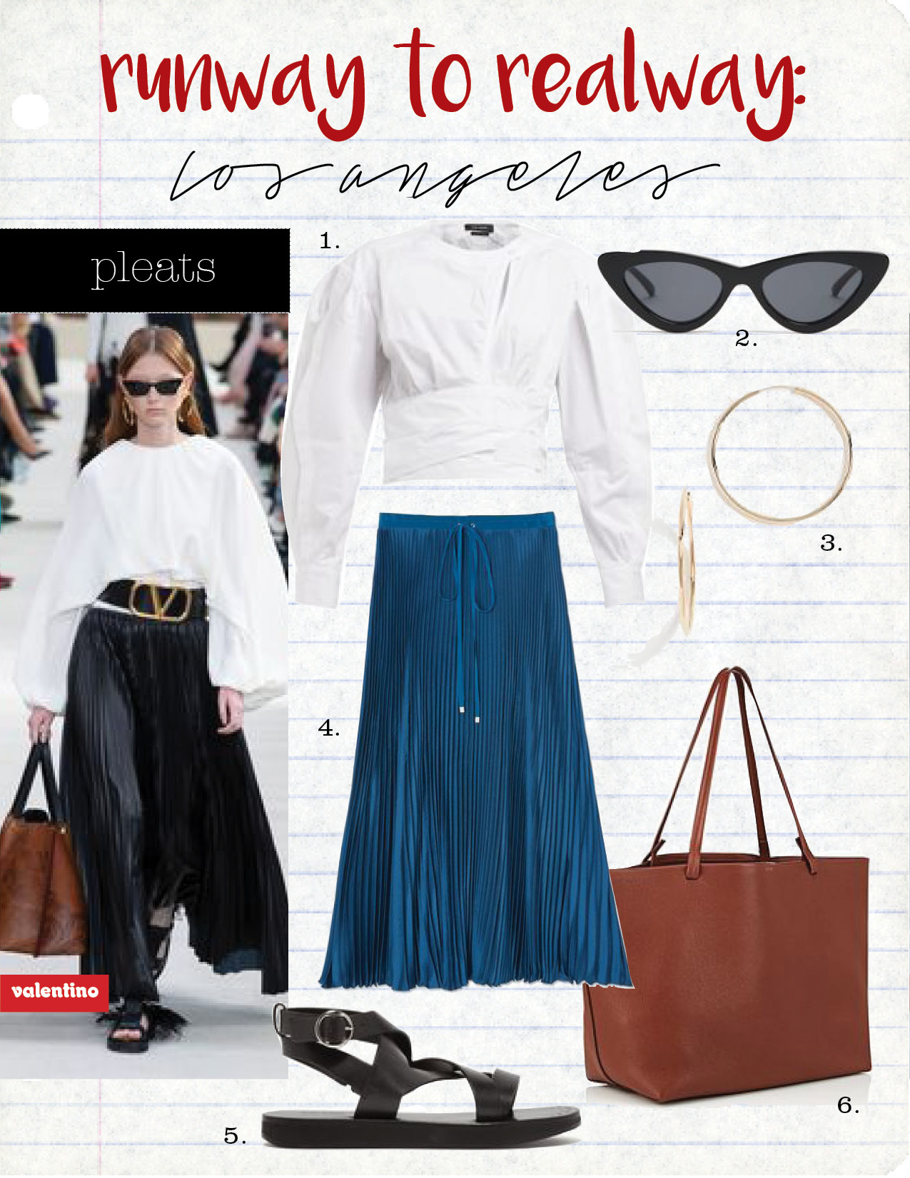 1. Isabel Marant cut-out cotton top, $515,  matchesfashion.com  2. le specs the last lolita cat-eye sunglasses, $80,  matchesfashion.com  3. shashi samantha small hoop earrings, $46,  shopbop.com  4. tibi mendini twill pleated skirt, $595,  goop.com  5. Isabel Marant noelly leather sandals, $680,  matchesfashion.com  6. the row park leather tote bag, $1790,  barneys.com