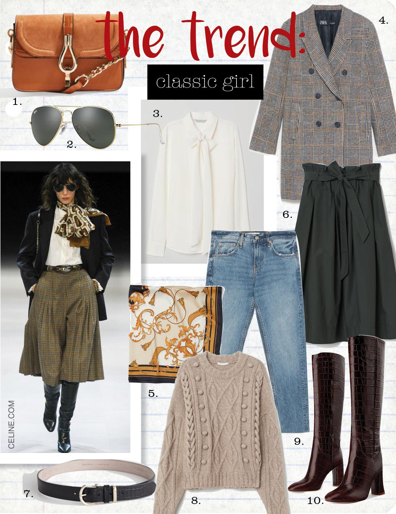 1. topshop capricorn cross body bag, $48,  topshop.com  2. ray-ban aviator classic, $153,  ray-ban.com  3. h&m silk tie blouse, $129,  hm.com  4. zara plaid coat, $49,  zara.com  5. h&m patterned satin scarf, $9,  hm.com  6. h&m calf-length skirt, $34,  hm.com  7. & other stories croco leather belt, $59,  stories.com  8. h&m cable-knit sweater, $49,  hm.com  9. zara cigarette jeans, $69,  zara.com  10. zara animal print heeled leather boots, $229,  zara.com