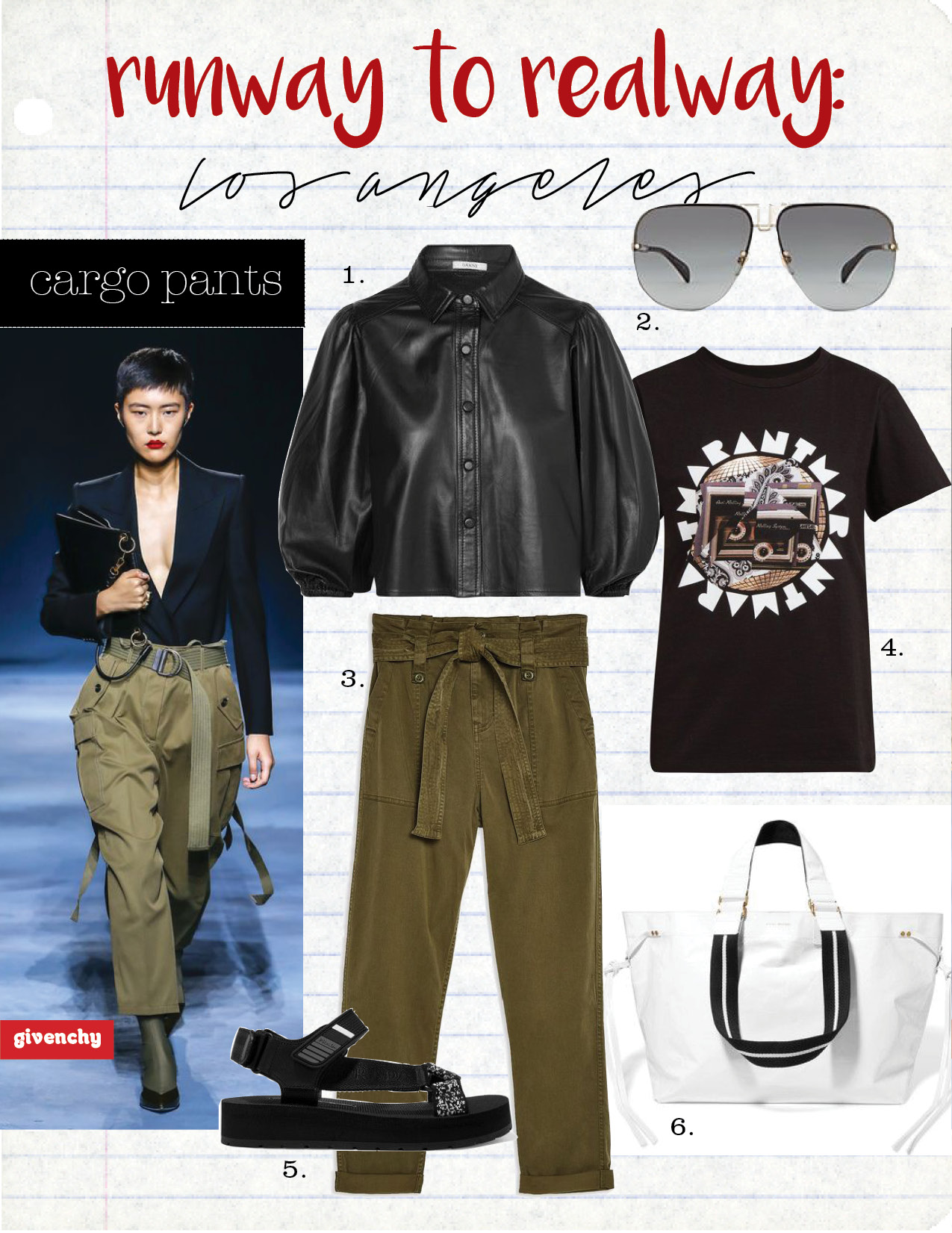 1. ganni leather shirt, $475,  saksfifthavenue.com  2. givenchy sunglasses, $410,  barneys.com  3. topshop cargo trousers, $75,  topshop.com  4. Isabel Marant zaof cotton-jersey t-shirt, $130,  matchesfashion.com  5. prada rubber-trimmed leather and canvas sandal, $590,  net-a-porter.com  6. Isabel Marant wardy tote, $870,  net-a-porter.com