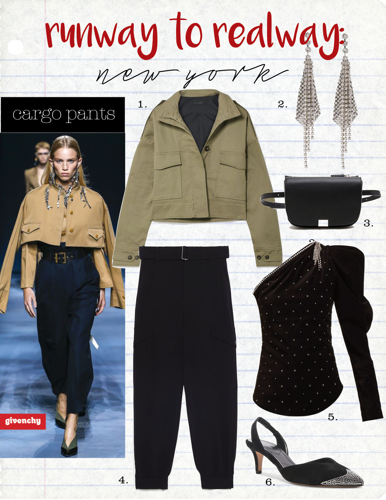 1. the range cropped cotton blend twill jacket, $590,  net-a-porter.com  2. Isabel Marant crystal-embellished tassel-drop single earring, $300 each,  matchesfashion.com  3. mango zipped lap belt bag, $39,  mango.com  4. zara cargo pants with belt, $69,  zara.com  5. Isabel Marant zeke crystal-embellished velvet top, $1495,  matchesfashion.com  6. Isabel Marant parkling heel in black, $670,  fwrd.com