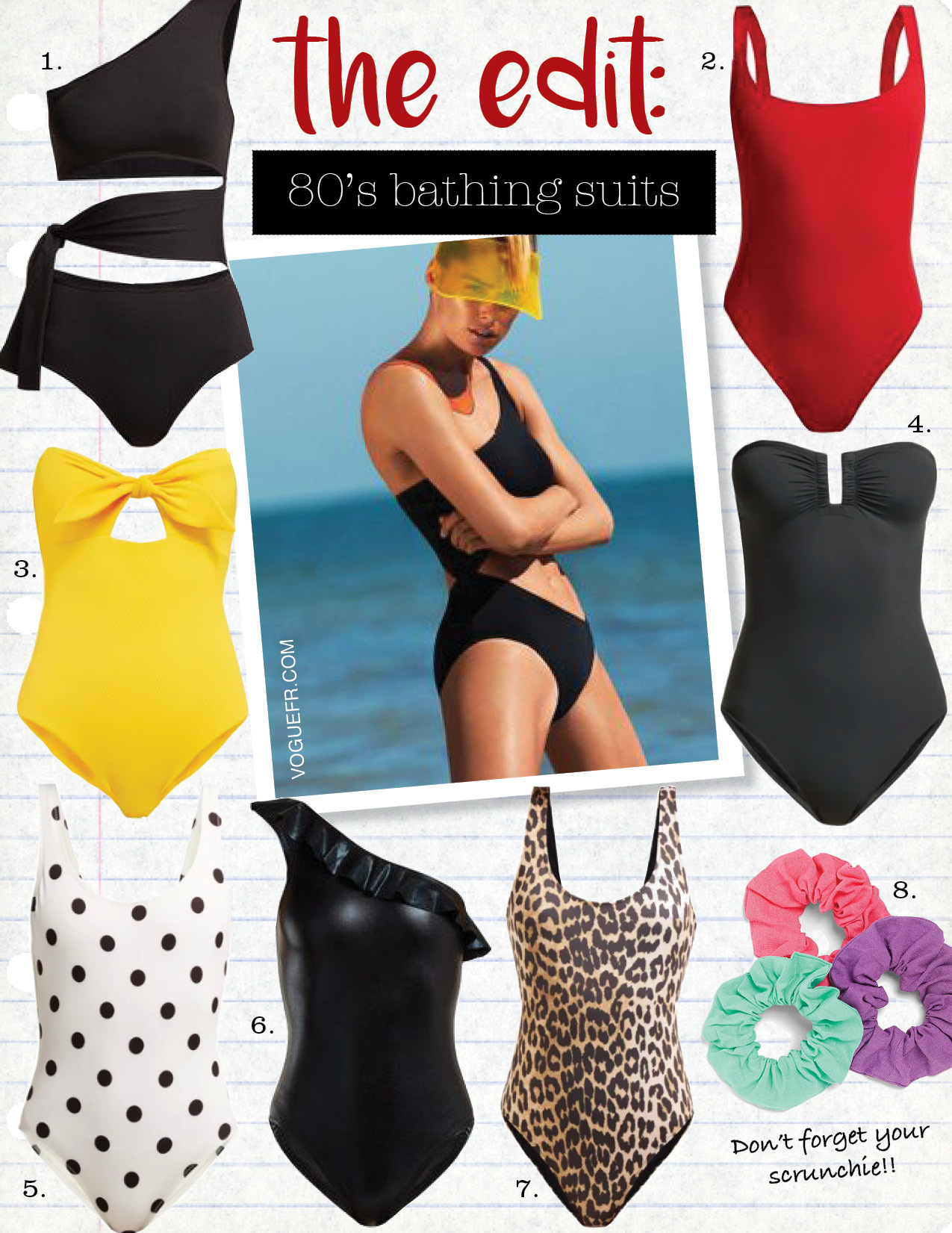 1. eres poker million one-shoulder cut-out swimsuit, $503,  matchesfashion.com  2. fisch select swimsuit, $193,  matchesfashion.com  3. cossie+co the alice swimsuit, $152,  matchesfashion.com  4. eres les essentiels cassiopee bandeau swimsuit, $387,  matchesfashion.com  5. solid and striped the anne-marie polka-dot swimsuit, $159,  matchesfashion.com  6. Norma Kamali mio ruffled one-shoulder swimsuit, $175,  matchesfashion.com  7. ganni leopard-print swimsuit, $128,  matchesfashion.com  8. zara three pack of hair ties, $12,  zara.com