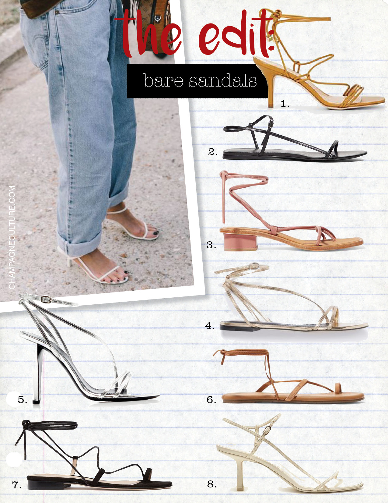 1. barneys New York selva leather sandals, $325,  barneys.com  2. the row cross-over strap leather sandals, $760,  matchesfashion.com  3. loq ara leather sandals, $350,  net-a-porter.com  4. Isabel Marant aldis sandals, $550,  isabelmarant.com  5. Isabel Marant arora leather sandals, $505,  modaoperandi.com  6. tkees jop suede and leather sandals, $95,  net-a-porter.com  7. emme parsons susan suede and leather sandals, $395,  net-a-porter.com  8. the row bare mid-heel slingback sandals, $790,  matchesfashion.com