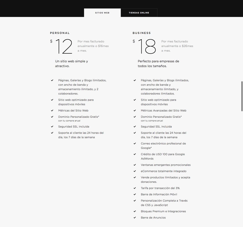 Precios de Squarespace para sitios web