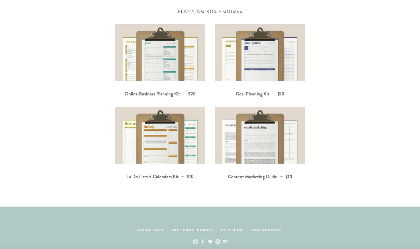 Ejemplos de productos digitales de Paper and Oats.png