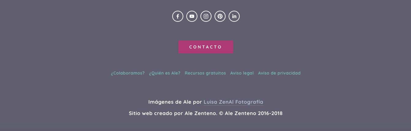 Captura de pantalla del pie de página de mi web.
