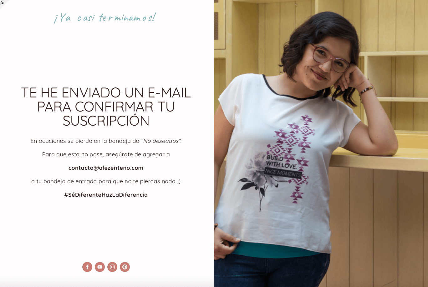 Ejemplo de página en Squarespace para doble opt-in
