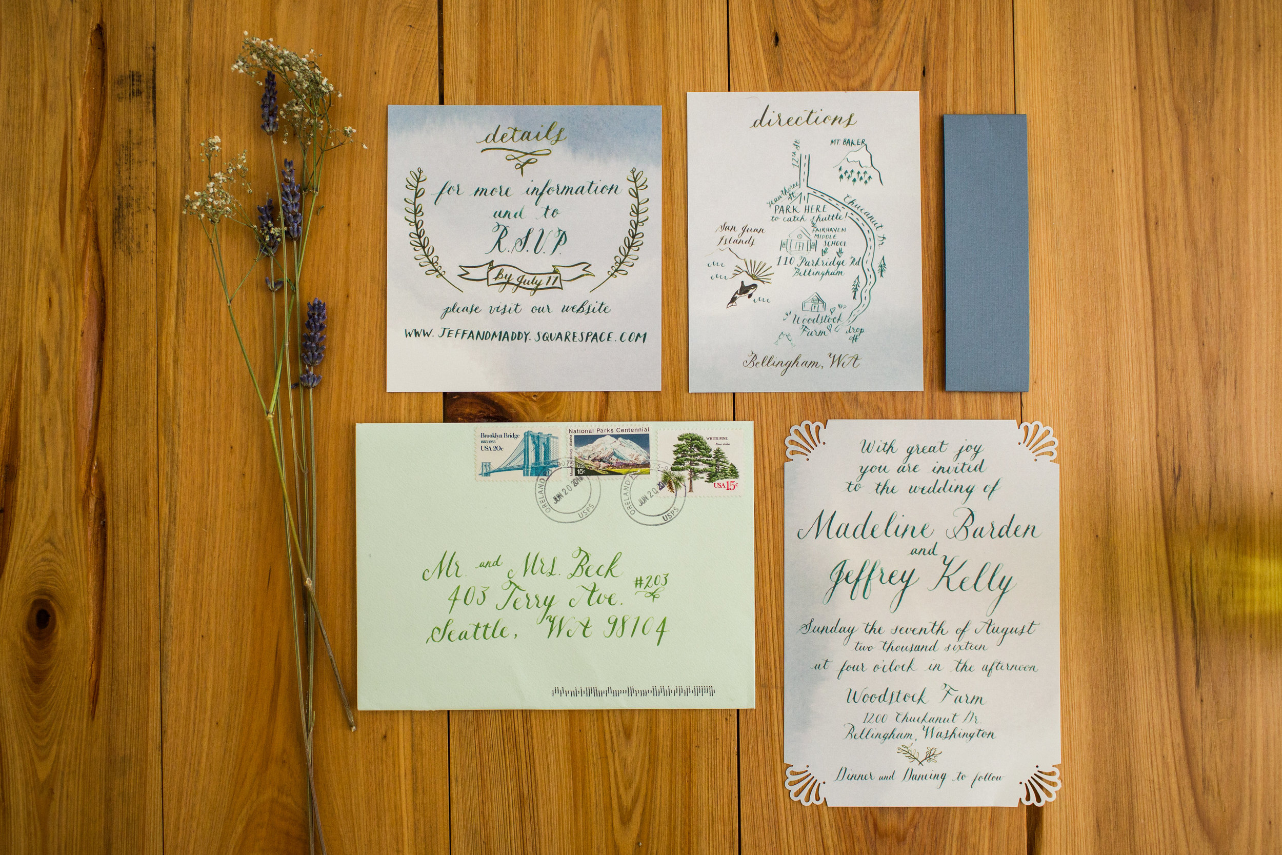 A peek at our wedding stationery - my calligraphy has really grown in a year! Photo by Char Beck.