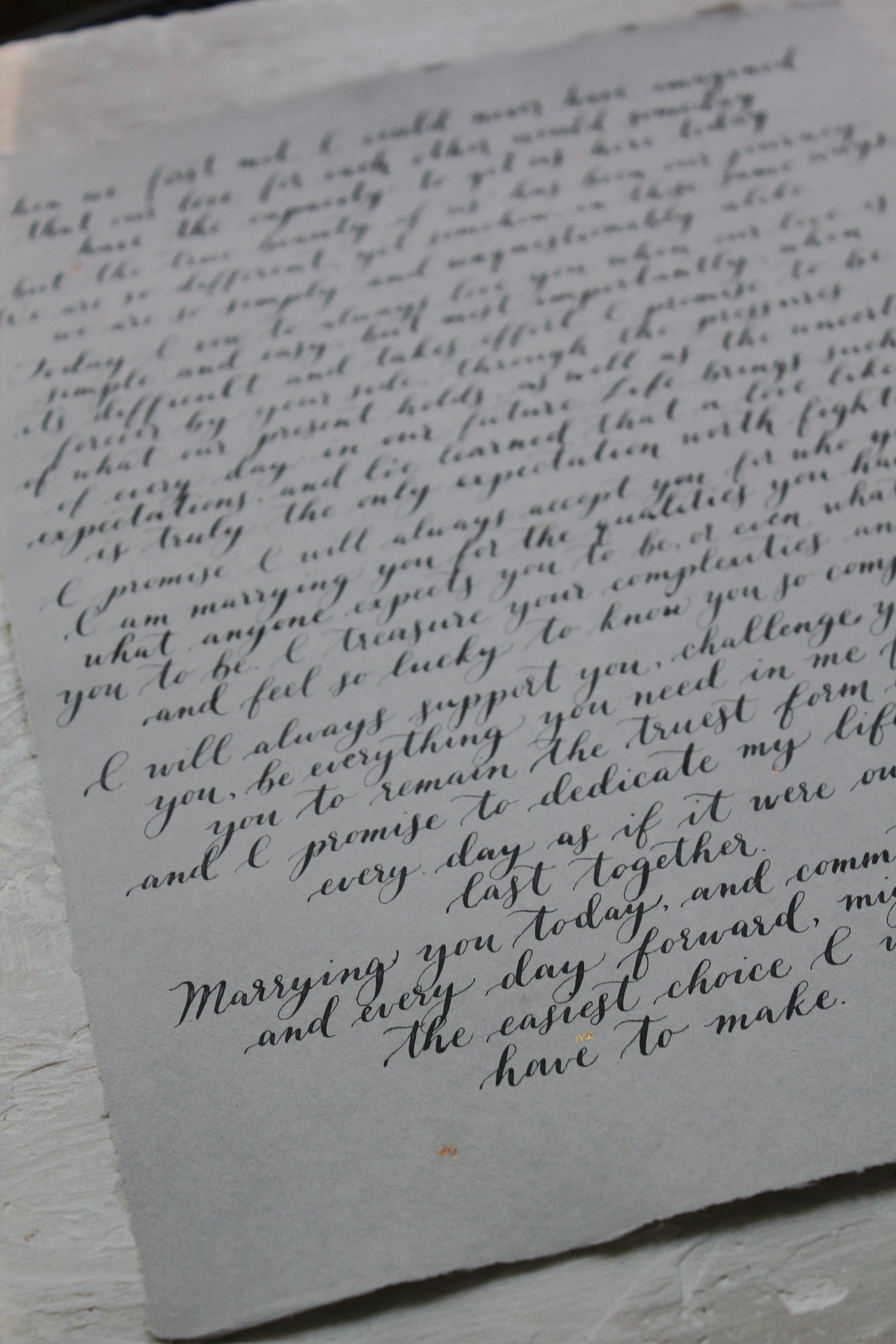 Calligraphy Vows Custom Calligraphy Wedding Vow Art First Anniversary Gift
