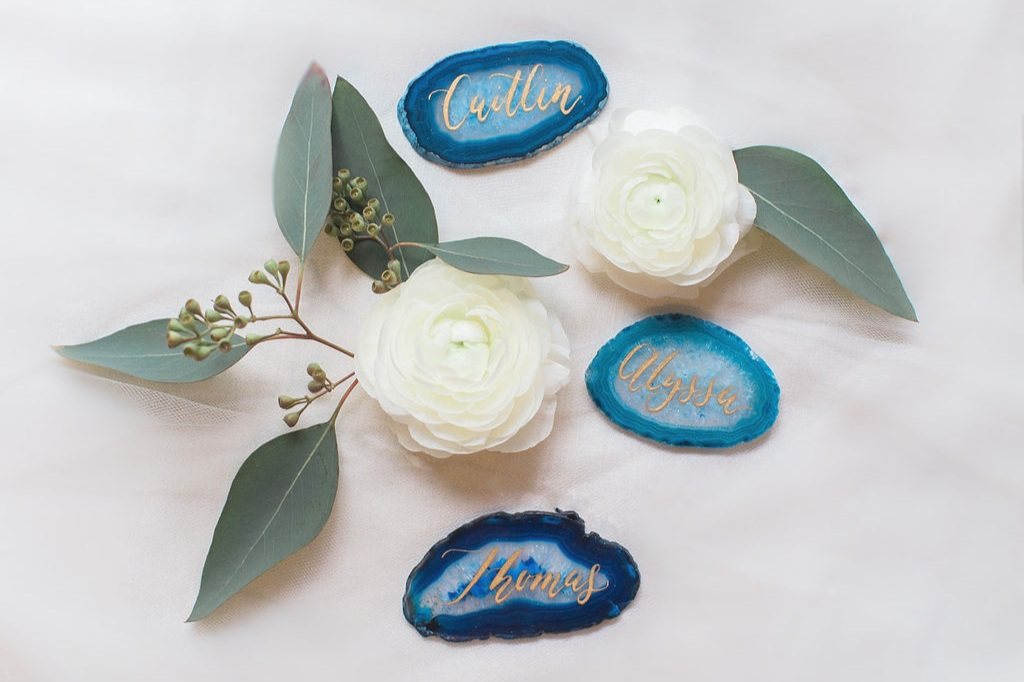 agate place cards for wedding