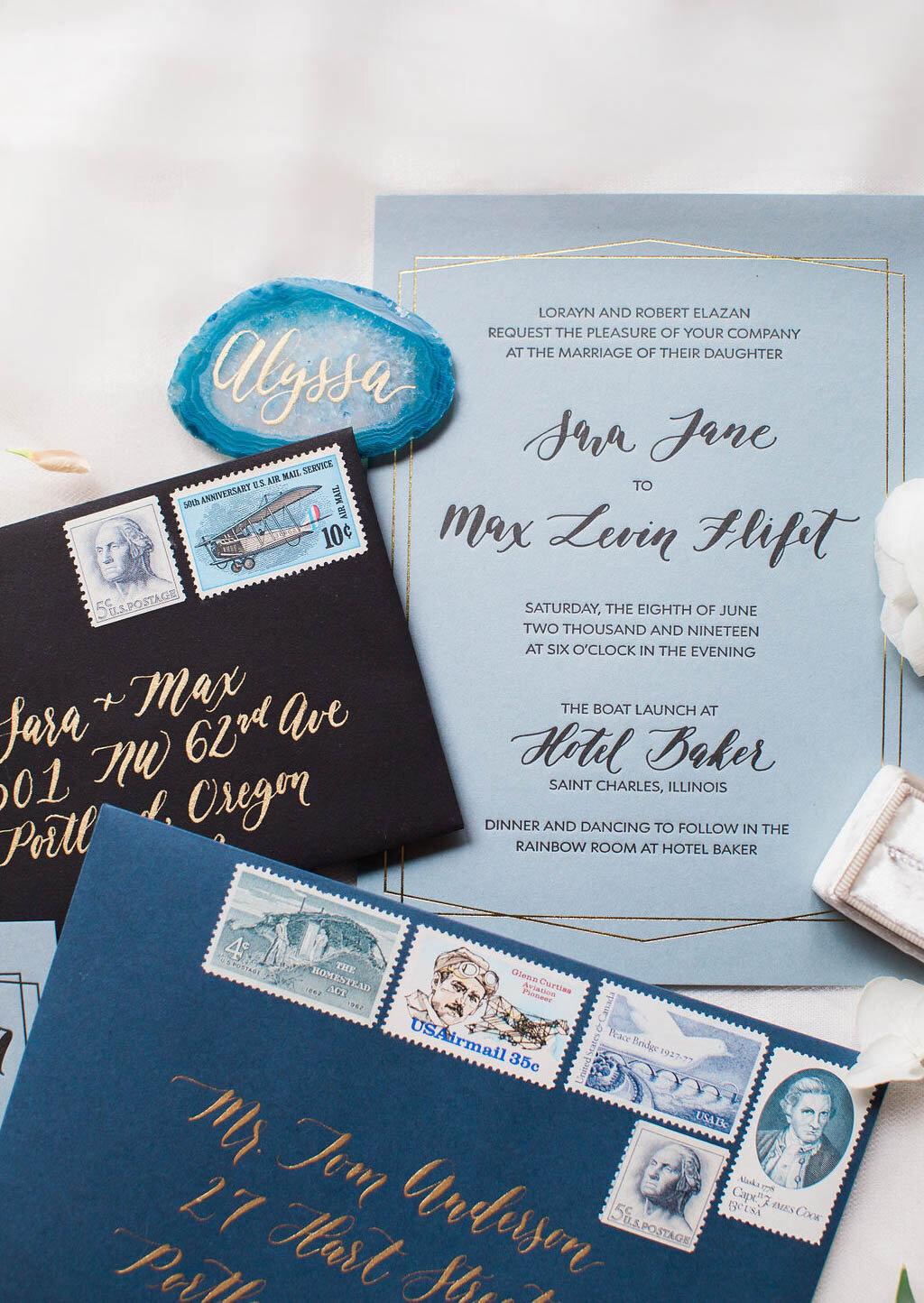 letterpress winter wedding invitations