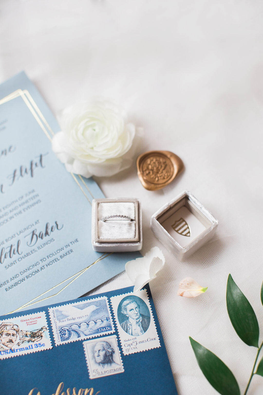 letterpress and gold foil wedding invitations