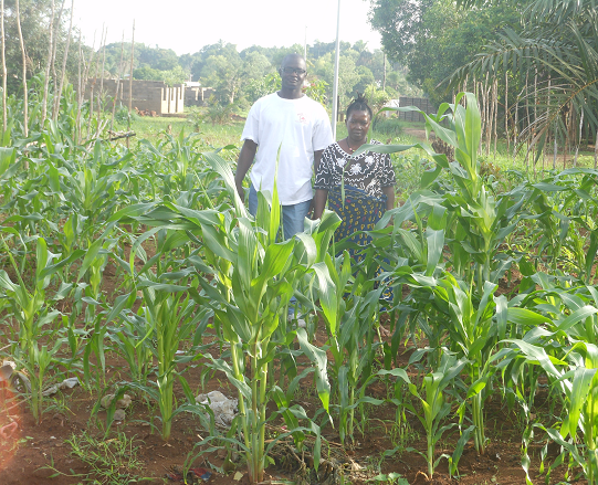 Right: EnviroOne microfinancing agriculture program enabled the farmers to grow corn and use the profits to send their children to school.