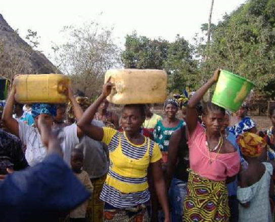 Left: Drinking untreated water is a common practise in Sierra Leone.  When available, women and children have to walk very long distances to fetch clean water, if available at all.