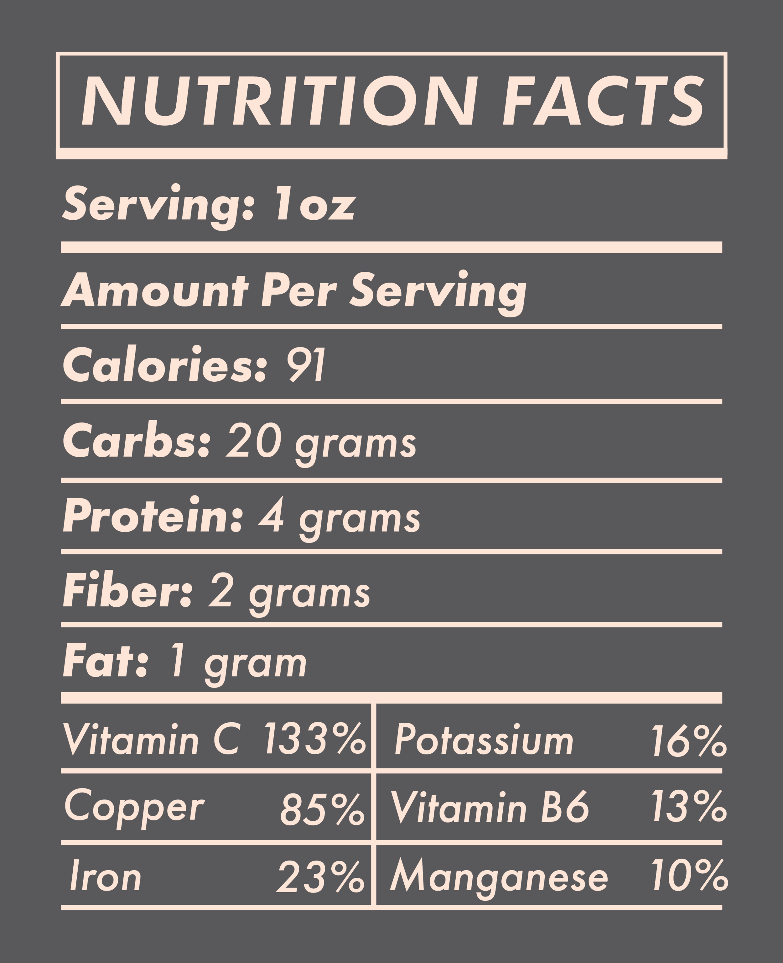 MACA NUTRITION FACTS -