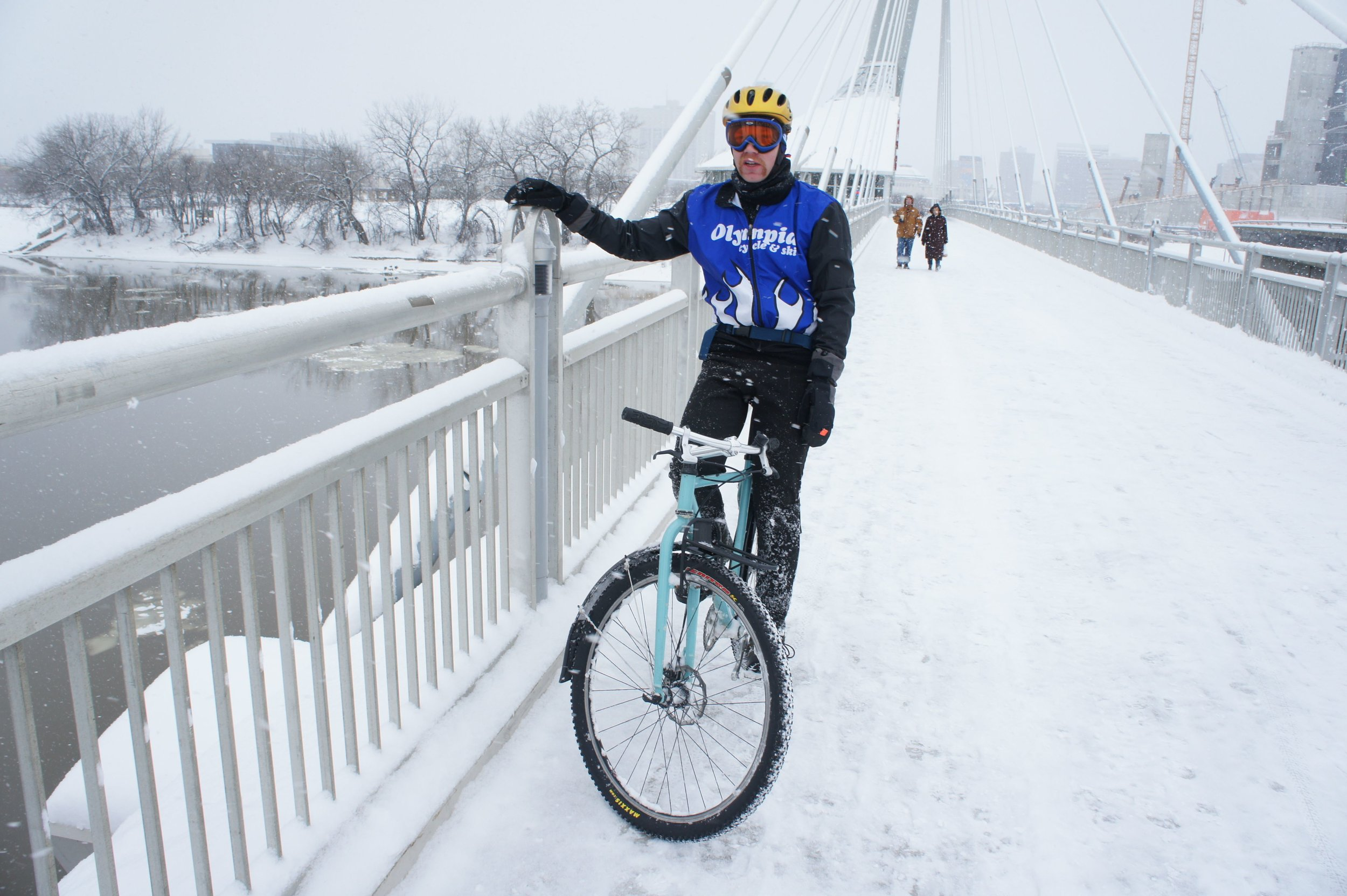 Provencher Bridge in winter. Photo by Olympia Cycle Club