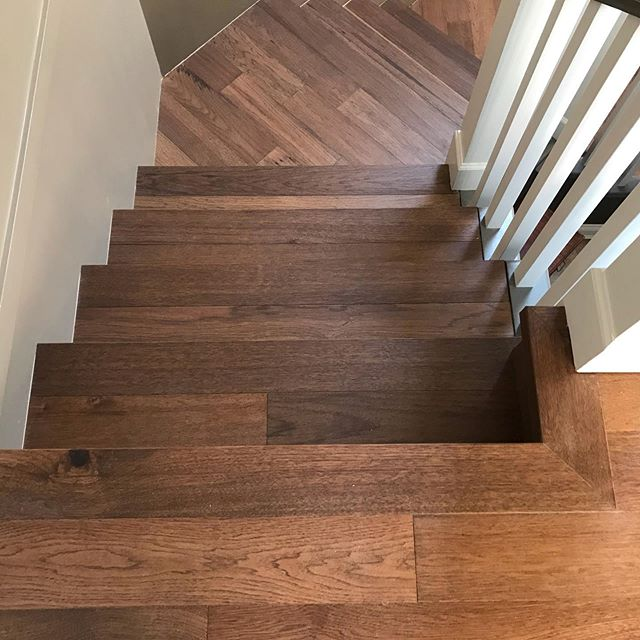 Here we installed the entire upstairs in a nailed down Mirage floor and threw in the stairs just for kicks. #miragestairs #squarenose #woodtreads #woodstairs