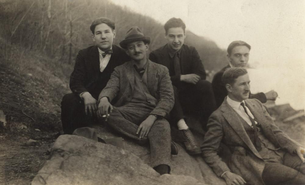 Newman, Gottlieb, Borodulin, Soglow<br>& unidentified <br> Central Park, 1925