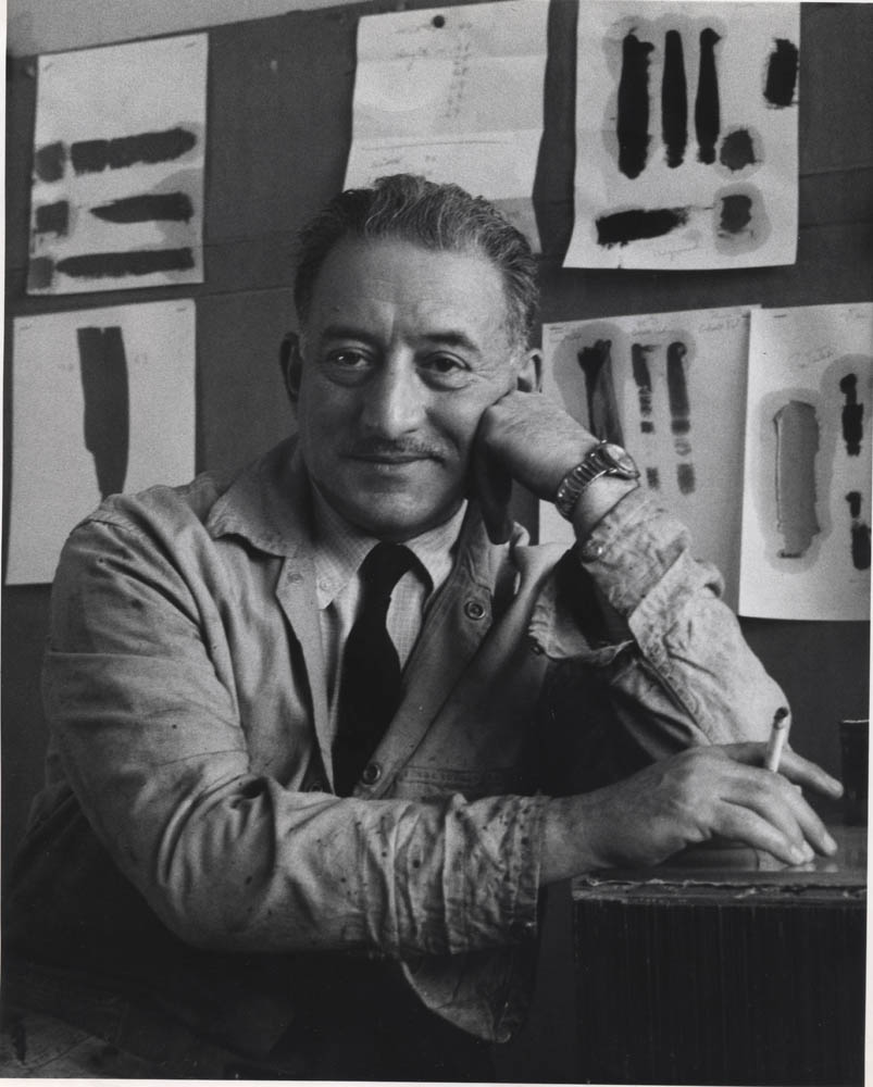 Adolph Gottlieb in his 23rd St studio<br> 1965 <br> Photo by Marvin Lazarus <br> © Roberta Fast Lazarus