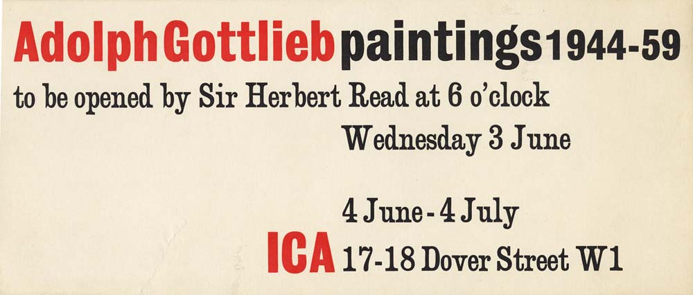 Invitation for Gottlieb's solo exhibition<br> at the Institute of Contemporary Art<br>London, England<br>1959
