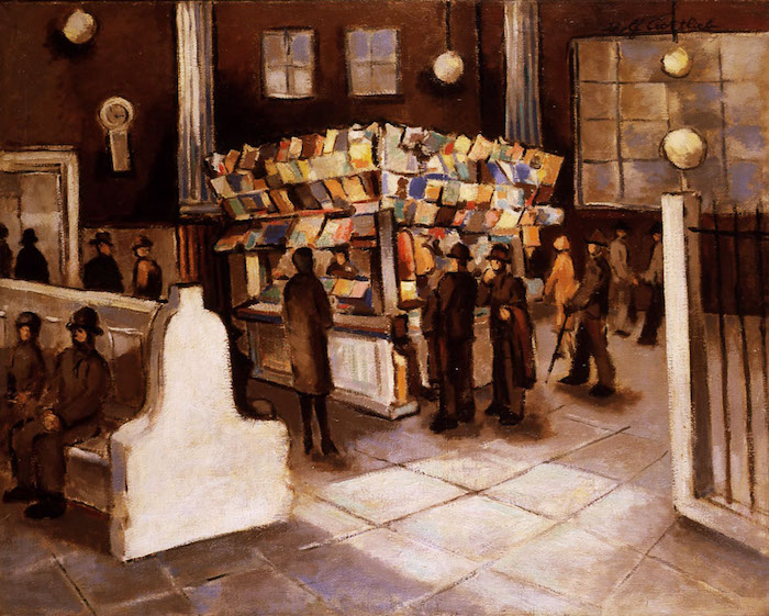 <br><i>South Ferry Waiting Room</i> <br> 1929<br>Oil on cotton<br>36 x 45""