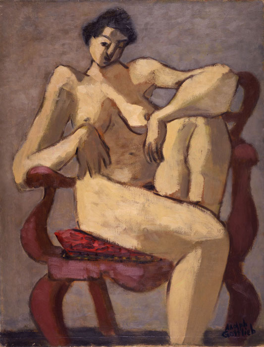 <br><i>Seated Nude</i> <br> 1934<br>Oil on canvas<br>35 x 27""