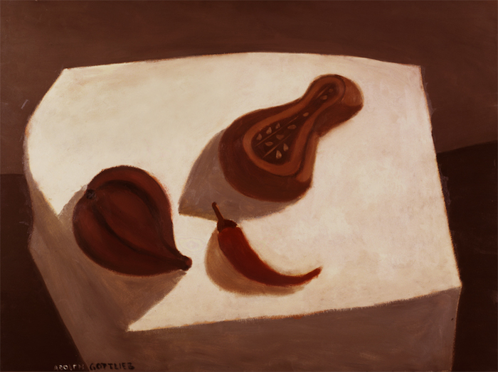 <br><i>Arizona Still Life</i> <br> 1938<br>Oil on pressed board<br>36 x 48""
