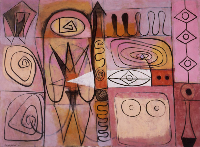 <br><i>Pictograph</i> <br> 1946<br>Oil on canvas<br>36 x 48""