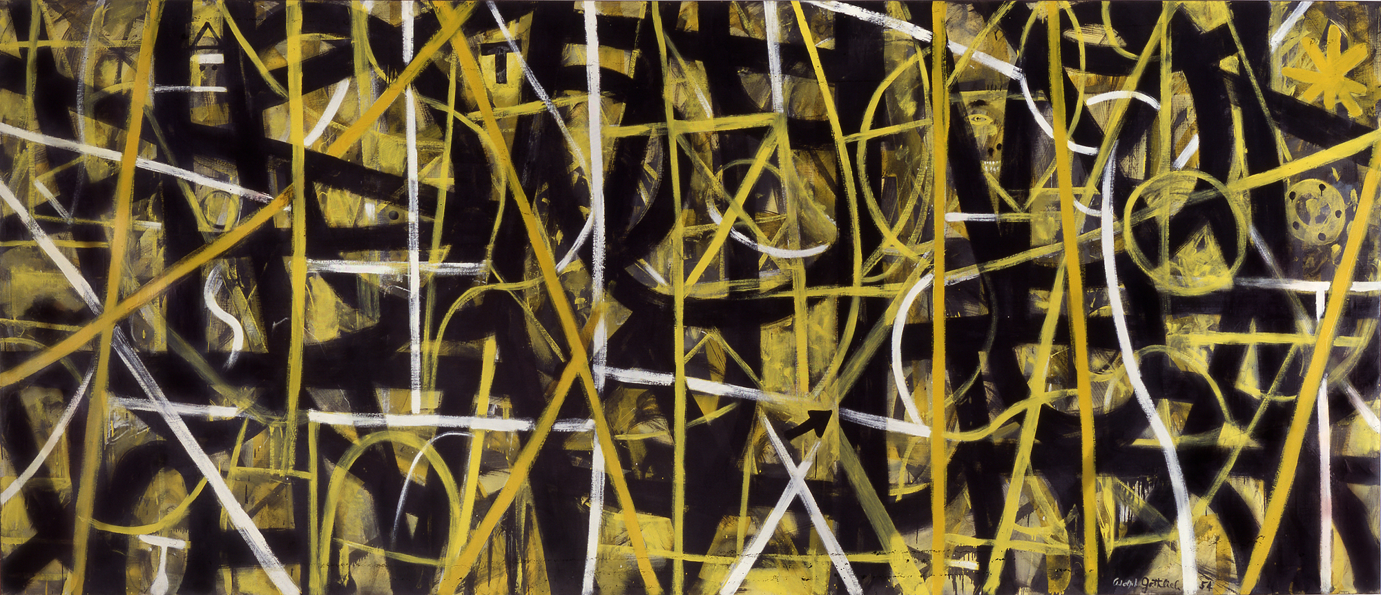 """<br><em>Labyrinth #3</em> <br> 1954<br>Oil and enamel on canvas<br>80 x 185"""""""