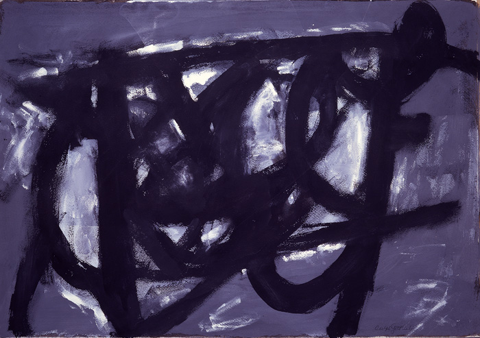 <br><i>Heavy Sky</i> <br> 1956<br>Gouache and watercolor on paper<br>22 x 31""