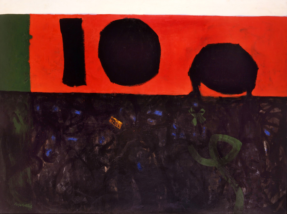 """<br><i>Red at Night</i><br>1956<br>Oil on canvas<br>72 x 96"""""""