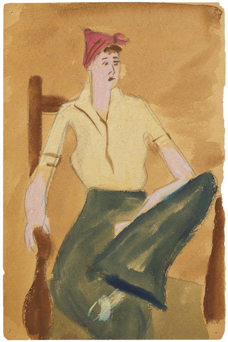 <br><i>Portrait of Esther</i><br>c. 1937<br>Gouache on paper<br>8 x 5""