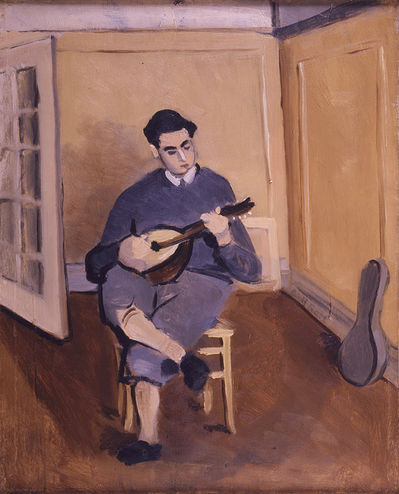 <br><i>Untitled (Alex with Mandolin)</i><br>1927<br>Oil on linen<br>19 x 16""
