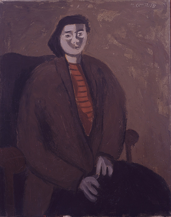 <br><i>Untitled (Portrait, Striped Shirt)</i><br>c. 1938<br>Oil and sand on canvas<br>29 x 23""