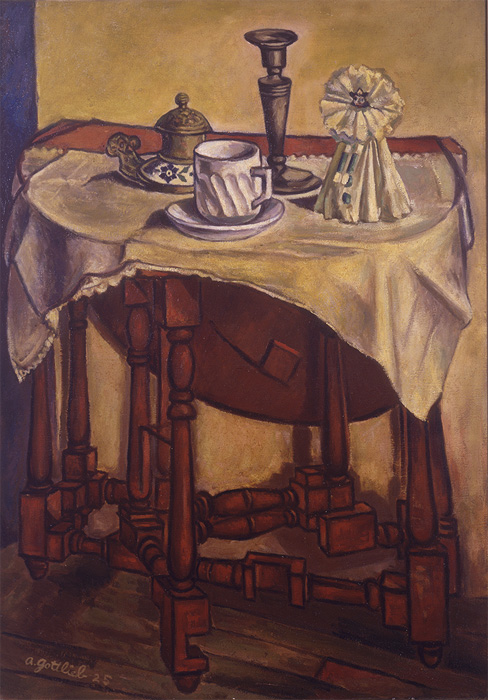 <br><i>Still Life (Gate Leg Table)</i><br>1925<br>Oil on canvas<br>35 x 24""