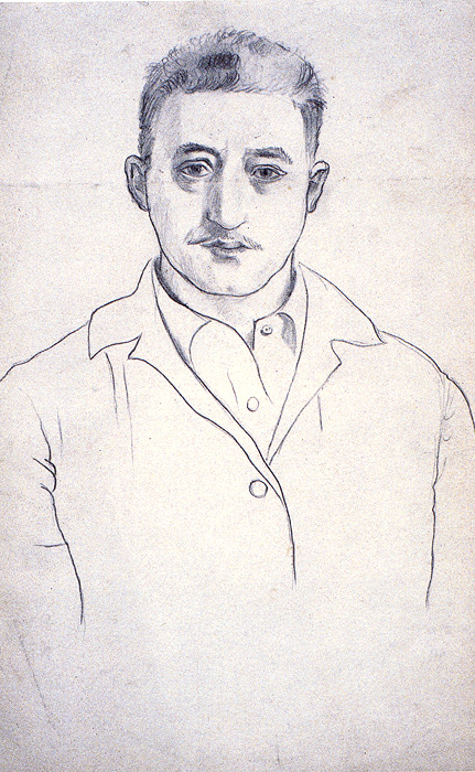 <br><i>Self-Portrait</i><br>1923<br>Pencil on paper<br>10 x 6""