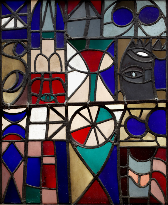 <br><i>Untitled</i><br>1953<br>Stained glass<br>29 x 24""