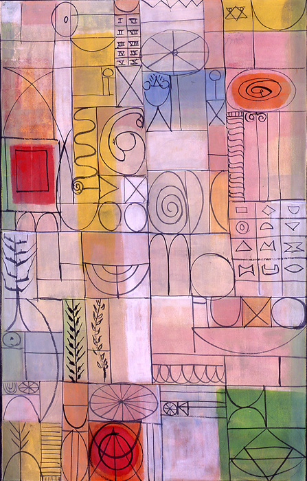 <br>Proposal for the Steinberg House window<br>c. 1953<br>Gouache and pencil on board<br>39 x 26""