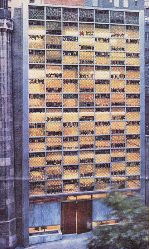 <br>Milton Steinberg House façade<br>1954<br>Glass<br>5 stories tall glass façade